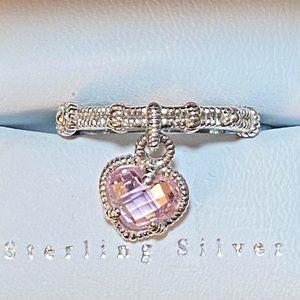 JUDITH RIPKA Pink Heart Dangle Charm Ring 925NWT 7
